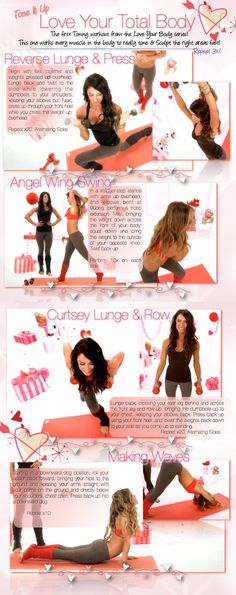 It's your Total Body Toning routine from Karena and Katrina at www.toneitup.com. You'll love your shoulders, legs, abs and arms!