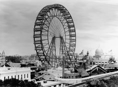 The original Ferris Wheel was designed and constructed by George Washington Gale Ferris, Jr. as a landmark for the 1893 World's Columbian Exposition in Chicago. The term Ferris wheel later came to be used generically for all such structures. London Eye, Ferris Wheel Chicago, World's Columbian Exposition, My Kind Of Town, White City, World's Fair, Change The World, Historical Photos, First World
