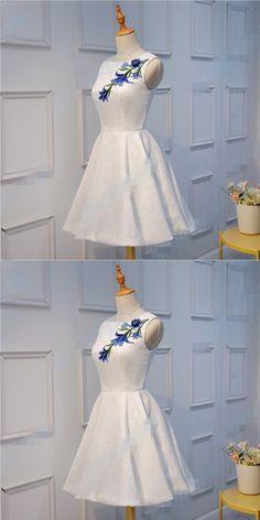 Elegant Satin White Sleeveless Short A-line Homecoming Dress,High Quality Embroidery Mini Prom Dress