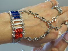 Flag Star Slave Bracelet Ring Proud to be by TheMysticalOasisGlow, $35.00