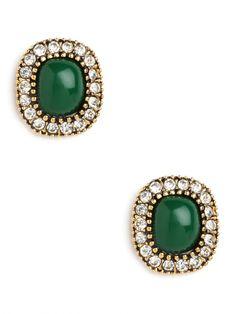 emerald portrait studs #coloroftheyear $28