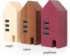 Hacoa Wooden USB Hub House - Wood is the most perfect of Japanese materials and the country's artisans still now how to best use it, from magnificent temples and homes to smart and cute little desktop accessories like this. The Hacoa Wooden USB Hub House is designed to look like a row of Scandinavian houses and comes in three d ...