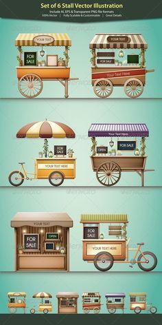 Stall Vector Illustration - Commercial / Shopping Conceptual Stall-Vektor-Illustration - Werbung / E Kiosk Design, Cafe Design, Store Design, Food Cart Design, Food Truck Design, Food Stall Design, Food Trucks, Vendor Cart, Bar Deco