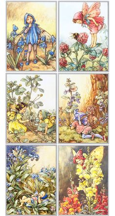 Fairies by Cicely Mary Barker.  I think the fairies are Scilla, Clover, Black Meddick, Periwinkle, Forget-me-not, and Snapdragon.