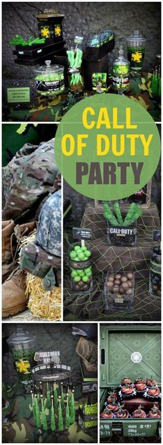 camo at this military Call of Duty party! See more party ideas at !Lots of camo at this military Call of Duty party! See more party ideas at ! Army Themed Birthday, Army Birthday Parties, Army's Birthday, Birthday Party Themes, Birthday Ideas, Xbox Party, Nerf Party, Party Party, Party Time