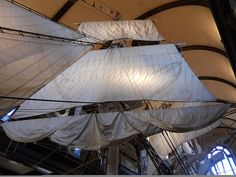 """Foresails of the half-scale replica whaling ship """"Lagoda."""""""