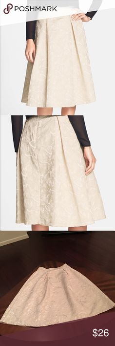 """ASTR. Textured Jacquard High Rise Midi Skirt Details Metallic shine amps up a chic high-rise ivory midi skirt cut with voluminous pleats from gorgeous textured jacquard. - 29"""" length (size Medium) - Back zip closure - Fully lined - 100% polyester - Dry clean ASTR Skirts Midi"""