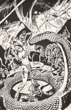 Frank Thorne Red Sonja Cover art to Red Sonja by the master Frank Thorne. Thorne only created 17 Sonja covers for Marvel during his brief 2 years at the House of Ideas. Comic Book Artists, Comic Book Characters, Comic Artist, Comic Books Art, Fantasy Characters, Red Sonja, Jordi Bernet, Black And White Comics, Conan The Barbarian