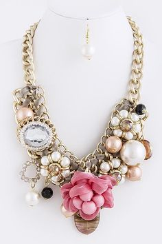 CHUNKY PEARL& PINK FLOWER JEWELRY SET|Bozz Diva Boutique