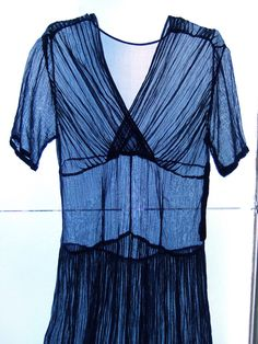 Decorative night blue handmade 1930s dress by ladybakelite on Etsy