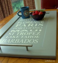Repurposed cabinet door with vacation subway art - a serving tray