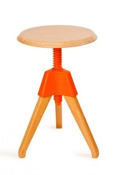 Pop Stool by Industry West. This is one of the most charming and cheerful stools I've ever seen. I'd love to place a bunch of these around a large work table and get creative! industri west, color, modern industrial, oranges, furnitur, industrial design, stool orang, stools, pop stool