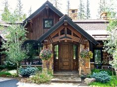 Summit Residence by DesignWorks Development, Denver CO Rustic Houses Exterior, Exterior House Colors, Rustic House Plans, Cabin Plans, Stucco And Stone Exterior, Rustic Entry, Home Exterior Makeover, Modern Rustic Homes, Natural Building