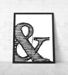 Ampersand print by Latte Design. Typography print, ampersand poster, typographic poster, black and white decoration, white decor black decor, ampersand poster, typography wall decor, home decor
