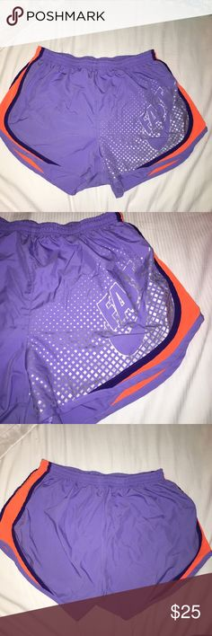 Nike dri fit shorts Purple dri fits with prance details on the side and a silver pattern on one side with the word fast and Nike logo, WILLING TO NEGOTIATE Nike Shorts