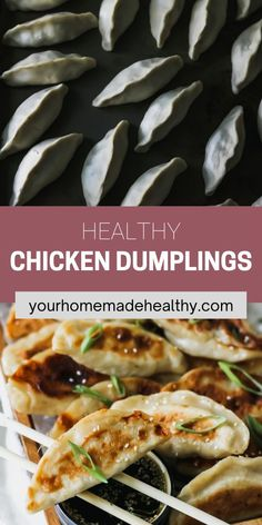 With their perfectly crisp outer shell and warm flavorful filling, with ground chicken, cabbage, and ginger, these healthy chinese chicken dumplings are one of the best meals around. You can learn how to make your own dough or pick up wrappers at the store. This recipe offers suggestions for making things quick and easy, while keeping them as homemade as possible. Pair these dumplings with the slightly salty, nutty, and tangy sesame soy dipping sauce, it's a match made in heaven! Ground Chicken Recipes, Healthy Chicken Recipes, Asian Recipes, Healthy Snacks, Ethnic Recipes, Chinese Chicken Dumplings, Healthy Chinese, Asian Cooking, Crisp