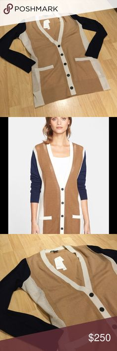 NWT Vince Cashmere Colorblock Cardigan Amazing 100% Cashmere Vince Colorblock Cardigan in camel with beige and navy.  Two front pockets, v-neck with button closure. Vince Sweaters Cardigans