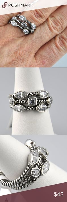Sparkly CZ Stainless Steel Stacking Rings Sz: 9 This set offers tons of sparkle for any outfit. Wear one or all three  Each ring features 2 or 3 bezel set AAA Cubic zirconia stones set in a stainless steel band  Stainless steel is hypoallergenic, easy to care for, and will not tarnish or turn your finger Green  Comes in Ring Gift Box  Smoke free pet friendly home Jennies Jewels Jewelry Rings