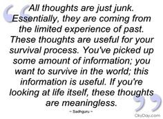 All thoughts are just junk - Sadhguru - Quotes and sayings