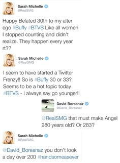 They'll always be Buffy and Angel when they interact like this. ♡♥♡ #TeamBuffyandAngel
