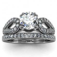 Antique Round Diamond Engagement Ring with Band set in 18k White Gold  In stockSKU: VS1066SET-18W