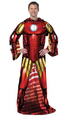 Iron Man  Avengers Licensed Adult Comfy Throw Blanket With Sleeves Marvel Comics #Northwest #Avengerssuperhero
