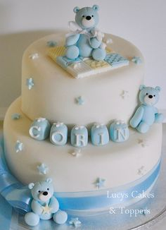 Boys teddy bear christening cake by www.lucys-cakes.com, via Flickr