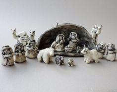 Nativity Set Ceramic Handmade Pottery Cresh