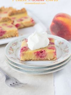 We love #peaches and raspberries in a peach melba #dessert so heck yes we loved the bars!! Creamy peach and raspberry deliciousness on a graham cracker crust ohsweetbasil.com