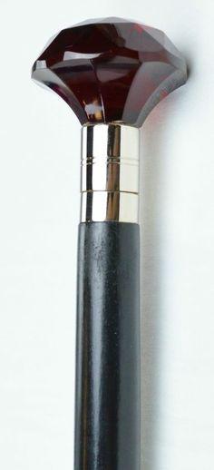 Solid Ruby Red Cut Glass Knob Handle Wood Walking Stick Cane | eBay