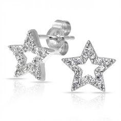 925 Sterling Silver CZ Pave Open Star Stud Earrings
