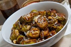 Balsamic Roasted Brussels Sprouts with Toasted Pine Nuts