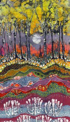Dishfunctional Designs: Beautiful Batik: What It Is & How It's Made. Moonlight Over Spring batik painting by amityfarmbatik via Etsy Fabric Painting, Fabric Art, Fabric Frame, Fabric Design, Shibori, Batik Art, Landscape Quilts, Wow Art, Spring Art