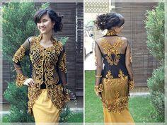 Gold Sequins on Black Kebaya - ELEGANT!