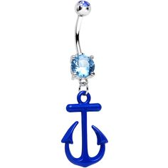 Aqua Gem Nautical Blue Anchor Dangle Belly Ring