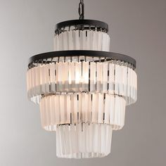 Frosted Glass Rod Chandelier