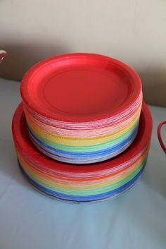 My Girls: Riley's 5th Birthday: A Rainbow Paint Party: rainbow plates