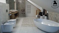 Jasna łazienka / pokój kąpielowy / bathroom / łazienka ze skosami / spanish tiles / geotiles #bathroom #interior #interiordesign