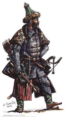 Khaqnazar Khan (ruled 1538–1580) Turkic Languages, Ages Of Man, Medieval Fantasy, Dark Fantasy, Genghis Khan, Fantasy Sword, Mughal Empire, Sword And Sorcery, Asian History