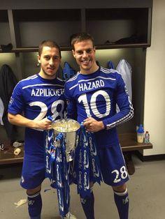 Eden Hazard and César Azpilicueta Chelsea - winners Capital One Cup Chelsea Fc, Chelsea Football, Football Boys, Eden Hazard Chelsea, Milan, Hunks Men, Go Blue, Swagg, Alone