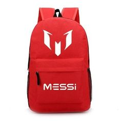 Student's MESSI Logo Geometric Colorful Print Large-Capacity Nylon Oxford Backpack 12 Colors