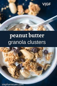 Peanut Butter Granola Clusters are a delicious easy snack or breakfast. Crunchy, nutty and lightly sweetened. Great by the handful or topped on yogurt or with fresh fruit. #granolaclusters #peanutbutter #vegan #glutenfree