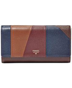 Fossil Sydney Leather Patchwork Flap Clutch Wallet