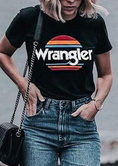Wrangler Sunset Short Sleeve T-Shirt - Fairyseason Country Outfits, Western Outfits, Western Wear, Western Style, Cowgirl Outfits, Country Western Fashion, Country Dresses, Cowgirl Boots, Retro Shirts