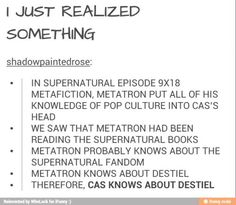 And he didn't tell Metatron he was wrong when he said everything he did was all for one human- Dean Winchester....