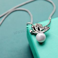 Rhinestone Zinc Alloy Necklace with ABS Plastic Pearl