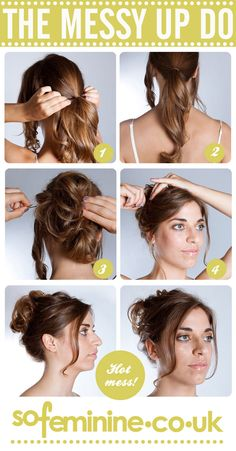 How to do a messy updo  1.Gather two front sections to keep loose,  and tie the rest of the hair into a pony tail. 2.Add a clear elastic band about two thirds of the way down the pony tail – this will help create a rounder more volumous shape to your messy updo. 3.Scrunch it and pin it in place. 4.Pin the front sections back and into the rest of the messy shape you have created at the back.