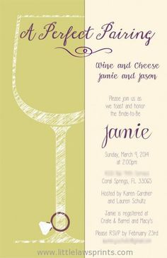 Sketch Wine and Cheese Invitation by LittleLawsPrints on Etsy, $25.95 engagement party, invitation, wedding, bridal