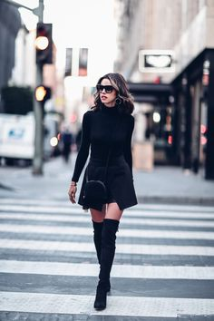 All black outfit - mini skirt + over the knee boots