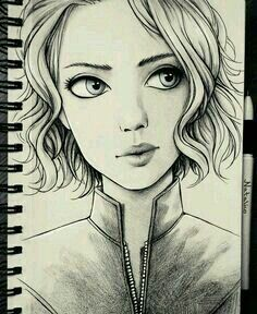 Ideas art sketchbook portraits character design for 2019 Girl Drawing Sketches, Pencil Art Drawings, Drawing Faces, Cute Drawings, Pencil Sketches Of Girls, Amazing Drawings, Beautiful Drawings, Amazing Art, Art Du Croquis
